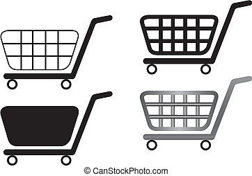 Vector illustration of shopping carts are isolated on white background