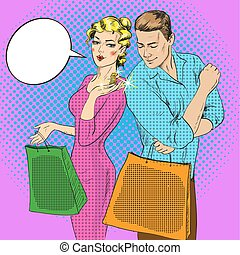 Vector illustration of shopping couple talking to each other...