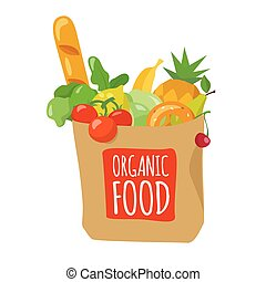 Vector illustration of shopping paper bag with food.