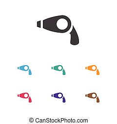 Vector Illustration Of Shopping Symbol On Hair Dryer Icon. Premium Quality Isolated Blow Dryer Element In Trendy Flat Style.