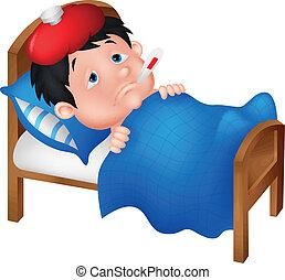 Sick boy cartoon lying in bed