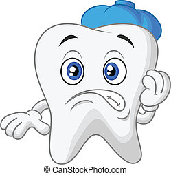 Sick tooth cartoon - Vector illustration of Sick tooth ...