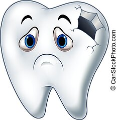 Sick tooth character with caries - Vector illustration of...