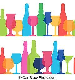 Vector Illustration of Silhouette Alcohol Bottle Seamless...