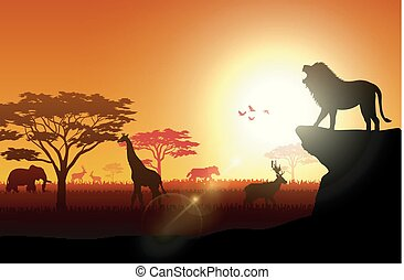 Silhouette animals on savannas