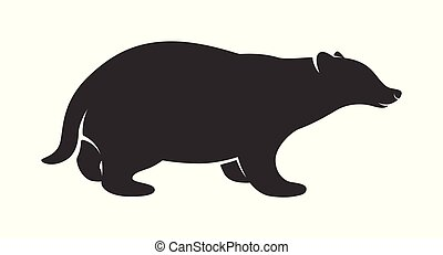 Silhouette of Badger isolated on white background