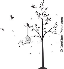 Silhouette of Birds with tree and birdcage