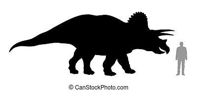 Triceratops - Vector illustration of silhouette of dinosaur ...