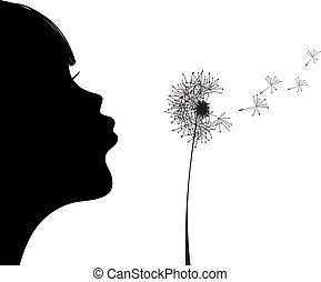Vector illustration of silhouette of girl blowing to dandelion