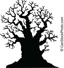 Silhouette of leafless oak tree
