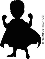 silhouette of superhero cartoon - vector illustration of...