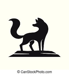 Silhouette of the fox on a white background