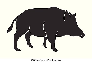 Silhouette of warthog isolated on white background