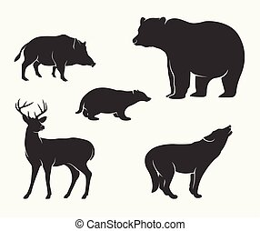 Silhouette of wild animal collection