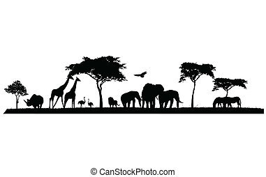 silhouette of wildlife - vector illustration of silhouette ...
