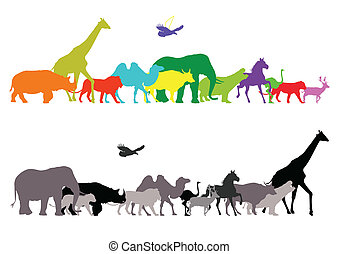 silhouette of wildlife safari - vector illustration of ...