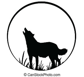 silhouette of wolf - vector illustration of silhouette of...