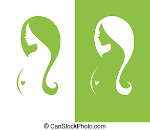 Silhouette pregnant woman - Vector illustration of...