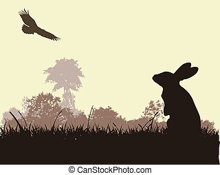 silhouette rabbit and eagle