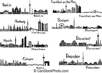 Vector illustration of silhouettes of 8 cities of Germany - Berlin, Frankfort on the Main, Hamburg, Stuttgart, Dusseldorf, Munich, Dresden, Cologne