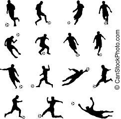 silhouettes of football players - vector illustration of...