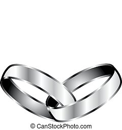 Vector Illustration of silver Promise Rings.