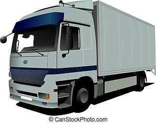 Vector illustration of silver  truck
