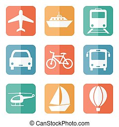 Vector illustration of simple vehicle and transport related icons