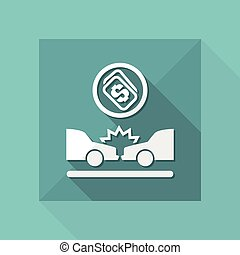 Vector illustration of single isolated car crash icon