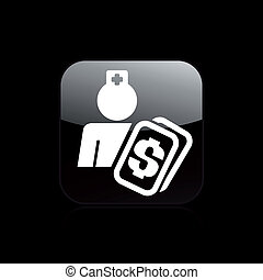Vector illustration of single isolated medical cost icon