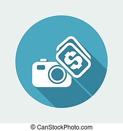 Vector illustration of single isolated buy or sell photo icon