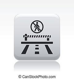 Vector illustration of single isolated access forbidden road icon