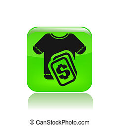 Vector illustration of single isolated clothing price icon
