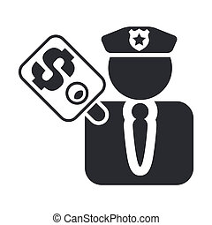 Vector illustration of single isolated cop corruption icon