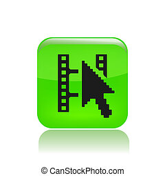 Vector illustration of single isolated film streaming icon