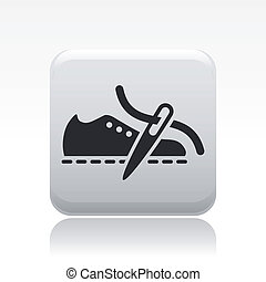 Vector illustration of single isolated shoe production icon