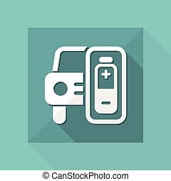 Vector illustration of single isolated electric car icon