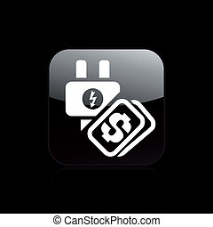 Vector illustration of single isolated energy cost icon