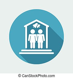Vector illustration of single isolated lesbian marriage icon