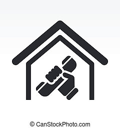 Vector illustration of single isolated house phone icon