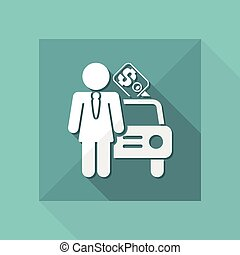 Vector illustration of single isolated girl car seller icon
