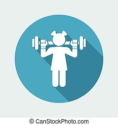 Vector illustration of single isolated girl gym icon