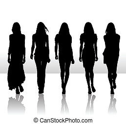 Vector illustration of single isolated girls set silhouette icon