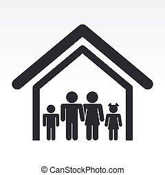 Vector illustration of single isolated house family icon