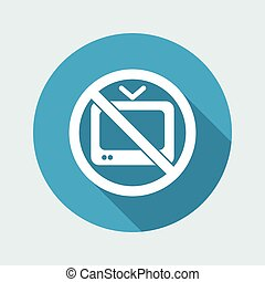 Vector illustration of single isolated icon depicting a tv forbidden