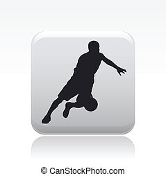 Vector illustration of single isolated icon of basketball player