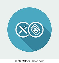 Vector illustration of single isolated restaurant cost icon