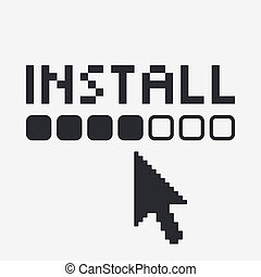 Vector illustration of single isolated install icon