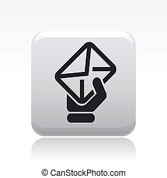 Vector illustration of single isolated mail hand icon