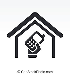Vector illustration of single isolated mobile phone icon